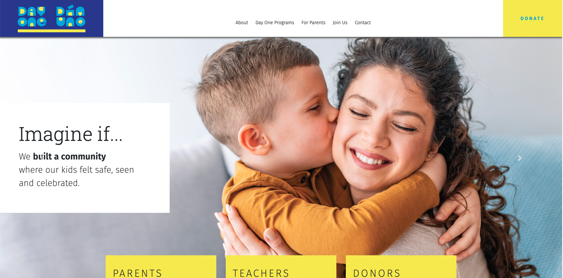 screen shot of a early learning community website